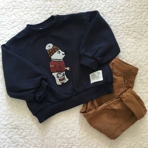 OUTFIT Zara Baby Boy Embroidered Sweatshirt & Pant